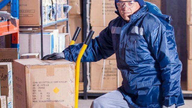man performing a manual handling task