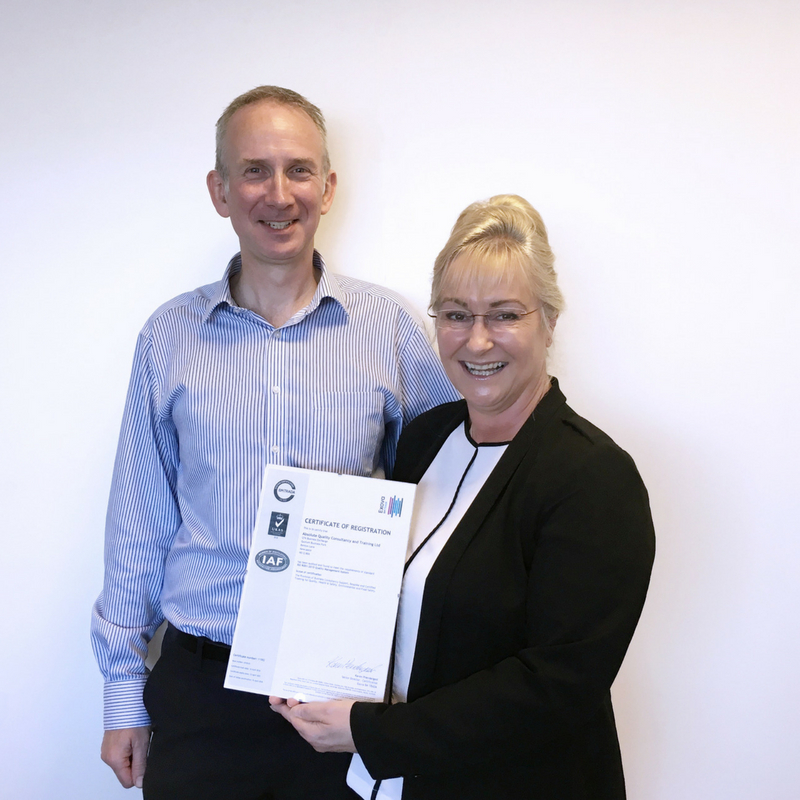 Andrew and Helen, Directors of Absolute Quality hold ISO 9001 certificate